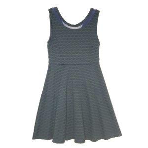 Pixley Fit & Flare Green & Blue Sleeveless Dress M